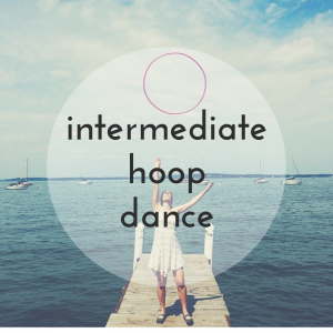 "A photo of a woman tossing a hoop at the end of a pier. The text overlaid says ""Intermediate Hoop Dance"""
