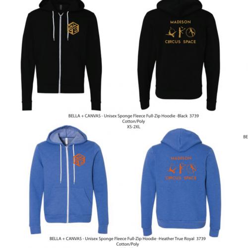 blue hoodie with orange logo, black hoodie with gold logo