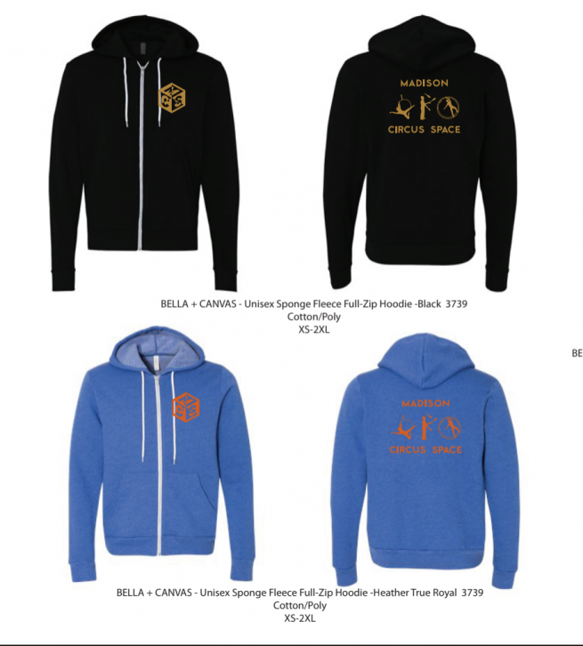 blue hoodie with orange logo, black hoodie with gold logo