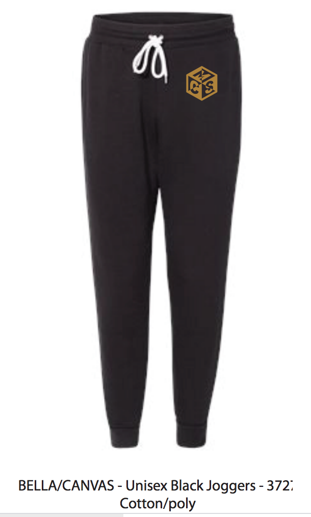 mcs joggers in black with gold logo