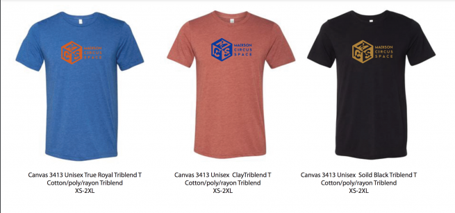 three colors of mcs tee shirt - unisex